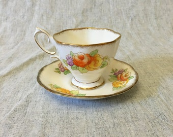 Vintage Royal Albert Crown China Tea Cup and Saucer with Orange and Yellow Roses, Pattern 1828