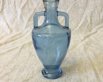 Vintage Blue Glass Grecian Urn Shaped Bottle, Blue Bud Vase
