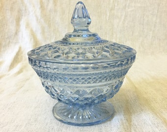 Vintage Anchor Hocking Wexford Glass Ice Blue Covered Candy Dish, Compote