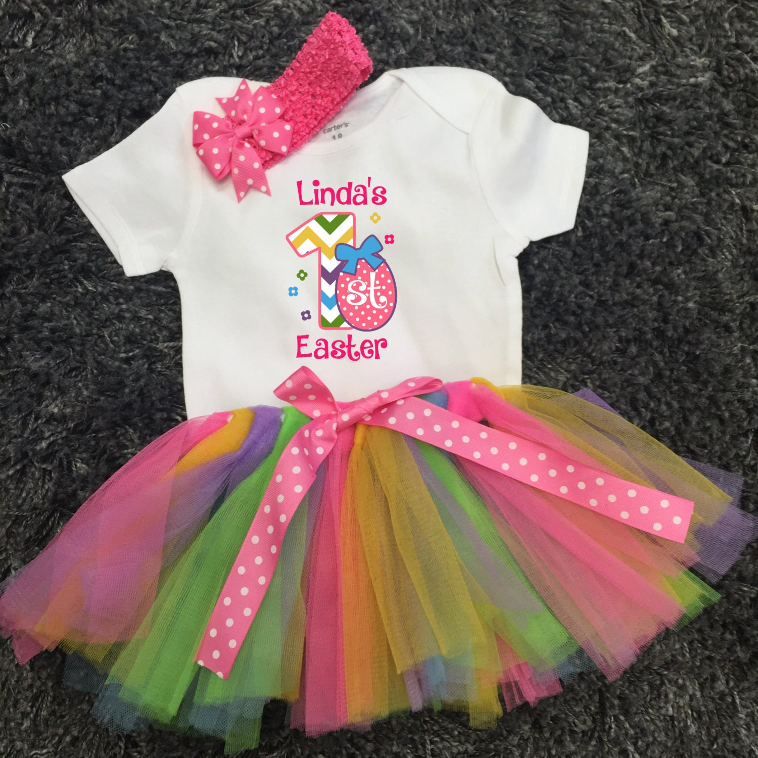 Baby's 1st Easter Outfit Easter Tutu Chevron One My
