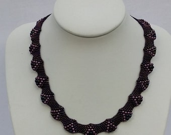 Purple Pearl and Seed Bead Fluted Necklace