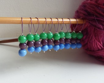 Stitch Markers for Knitting, Beaded Stitch Markers, Set of 10 Stitch Markers