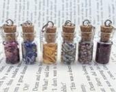 Dried Flowers , Roses , Cornflowers , Marigold , Lavender , Heather Bottle Necklace / Pendant / Bookmark / Earrings / Decoration / Keyring