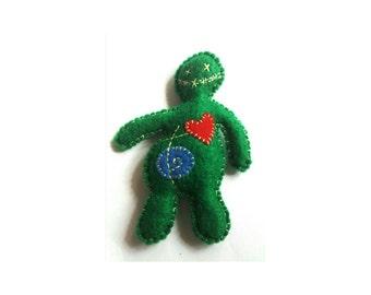 Voodoo zombie pincushion, voodoo doll pincushion, zombie doll pincushion, voodoo doll plush, zombie doll plush, novelty pin cushion, felt