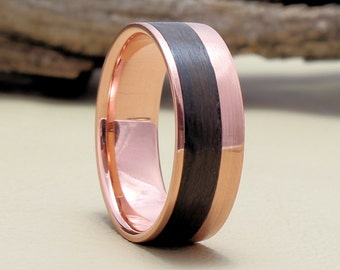 Copper Ring with Rosewood Inlay, Bentwood Ring - Copper Wood Ring, Copper Wedding Band, Wood engagement ring
