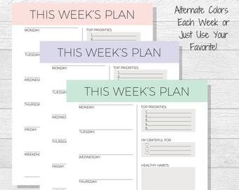 Weekly Planner Printable - Weekly Schedule - Weekly Organizer - A4 Weekly Planner - Office Schedule Printable - Work Planner - Week Layout