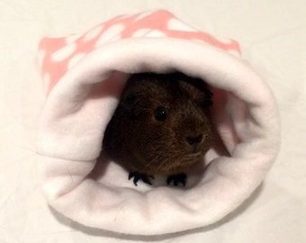 Snuggle Sack, Guinea Pig, Small Animal, Pink With White Polka Dots on White
