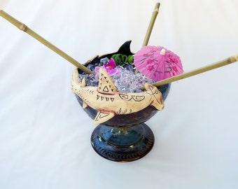 Hammerhead Shark Tiki Bowl - handmade - blue/brown, white - limited edition