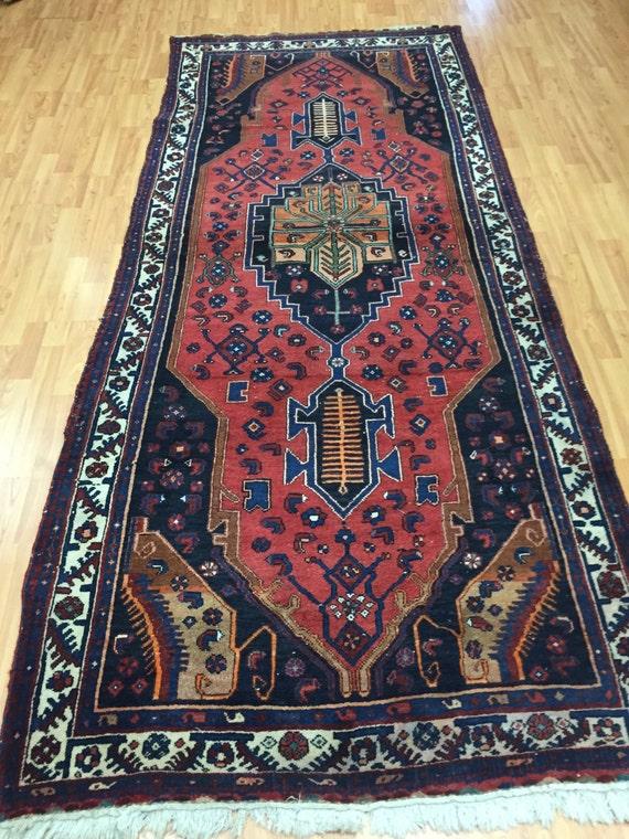 """4' x 9'5"""" Antique Persian Hamadan Floor Runner Oriental Rug - 1930s - Hand Made"""