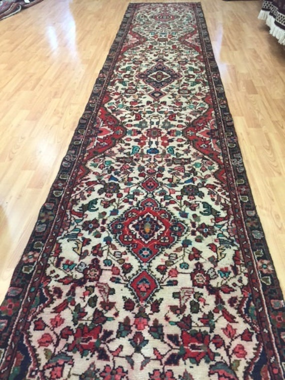 "2'6"" x 13'4""  Persian Hamadan Floor Runner Oriental Rug - 1960s - Hand Made - 100% Wool - Vintage"