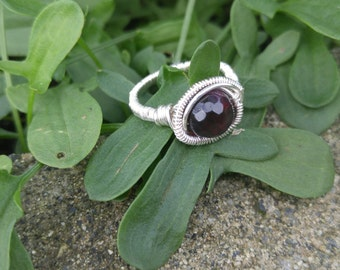 Silver Wire Wrapped Purple Agate Ring