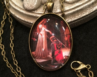 The Accolade Edward Leighton Medieval Maiden and Knight Bronze or Silver Pendant Necklace Gothic Victorian Sword Castle