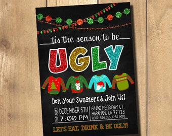 ugly sweater invite  etsy, Party invitations