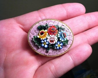 Vintage Micro Mosaic Glass Tile Oval Brooch - Pink, Red, Blue -  Signed Italy (1950s)