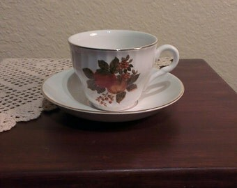 Vintage Enoch Wedgwood Tunstall English Harvest Cup and Saucer (1960s)