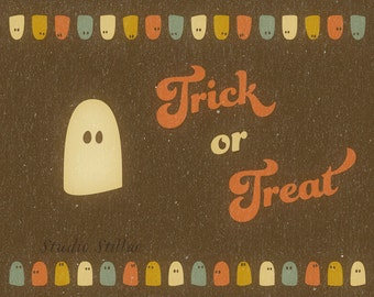 Halloween poster Trick or treat, seventies halloween party, instant download