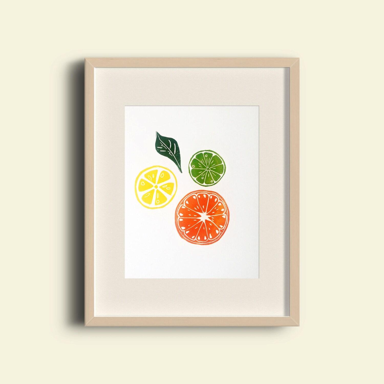 Citrus Slice Linocut Print Orange Lemon Lime Bright Kitchen