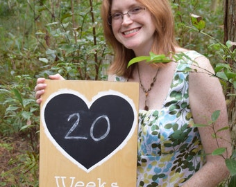 """Chalkboard Heart Countdown Sign, Maternity Photo Prop. 12x18 Solid wood, Hand Painted 1-sided """"Weeks Pregnant"""". Mom to be Gift"""