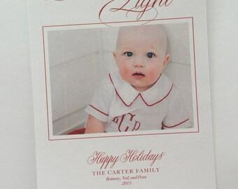 calligraphy christmas card, christmas card, photo card, custom christmas card, custom holiday card, holiday photo card, calligraphy, holiday