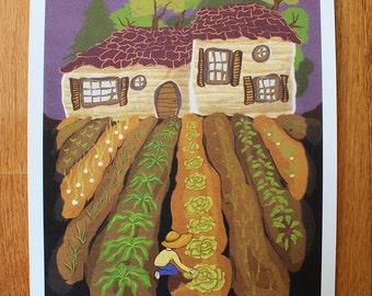 The Garden Patch, colorful original art print