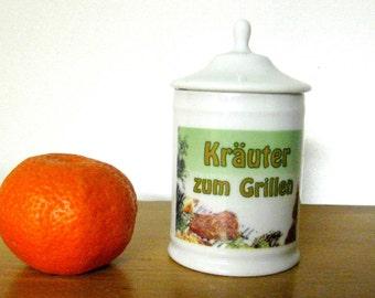 Antique Tin German storage box porcelain kitchen storage for grilling Gewürtz Bavaria old food can cook old decor kitchen