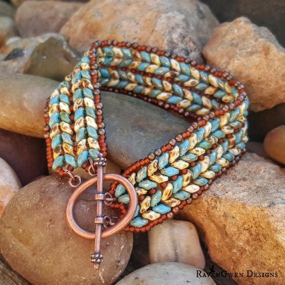 Blue tan superduo herringbone bracelet quot kentucky blue quot woven seed