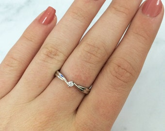 Size O Tiny Sterling Silver and Cubic Zirconia Solitaire Ring