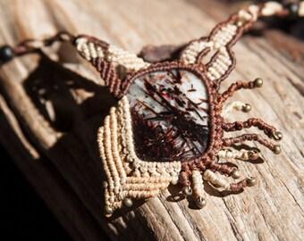 Astrophyllite macrame necklace // Astrophyllite pendant // Unique piece // Macrame jewelry // Hyperborean treasures