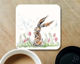Rabbit coaster, wood coaster, bunny coaster, rabbit lover, table coaster, drink coaster, rabbit, housewarming gift