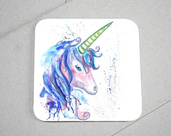 Unicorn coaster, wooden coaster, unicorn gift, table coaster, drink coaster, tile coaster, unicorn present, coasters, whimsical gift