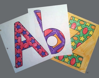 52 Shapes & Alphabet Coloring Pages