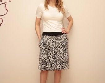Black & White Skirt / Knee Length Skirt