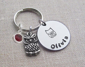 Personalized owl keychain, owl keyring, swarovski birthstone, name keychain, gift for her, owl gift, birthstone keyring, custom keyring