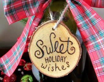 Sweet Holiday Wishes Wine Tag - Christmas Gift Tag