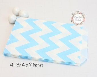 Light Blue Chevron Bags, 4--3/4 by 7 Inches, 12 Bags, Blue Favor Bags, Blue Treat Bags, Light Blue Favor Bags, Treat Bags, Wedding Favors