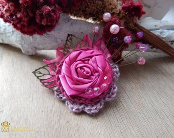Fabric Brooch.  Purple Flower pin. Textile Brooch. Handmade Brooch. Textile art eco friendly pin, Ooak embroidered brooch.  fabric jewelry
