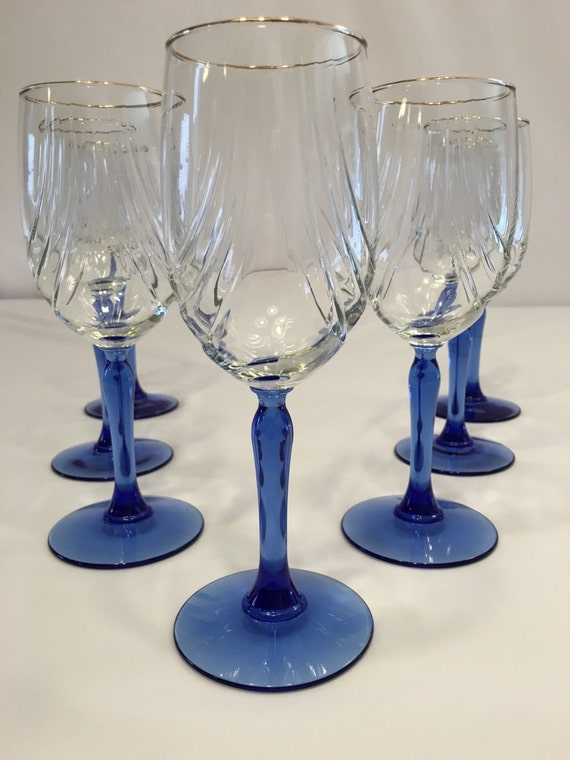 Eligant blue stem and gold rim wine glasses set of 9 - Lenox gold rimmed wine glasses ...