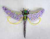 Brooch Dragonfly Aeschna Lilac Yellow Dragonfly Violet Dragonfly Fantasy Dragonfly of velvet clay polymer clay Fantasy animal Lilac insect