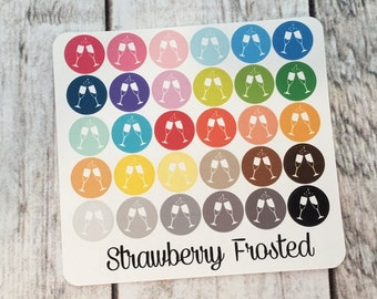Clinking Wine Glasses/Celebration----Multicolor Icon Labels---Planner Stickers