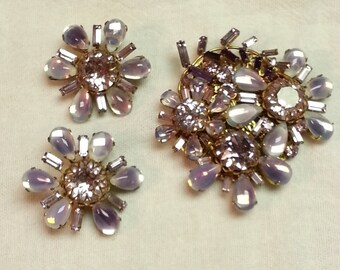 Vintage, Miriam Haskell, lavender moonstone and rhinestone brooch and earring set, 1947-1960