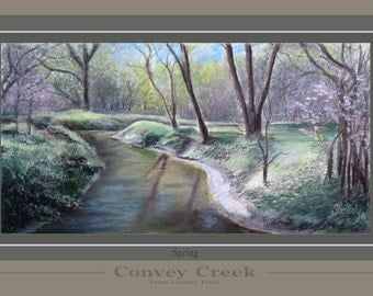 Convey Creek in Early Spring, Fine Art Print, Pastel, Poster, Rural, Landscape