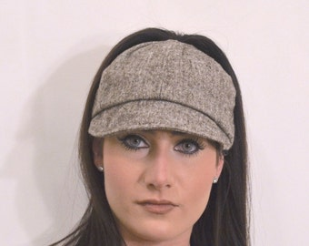 Womens Jockey Style brown tweed cap has a high opening for a ponytail without the need for barrettes or holder