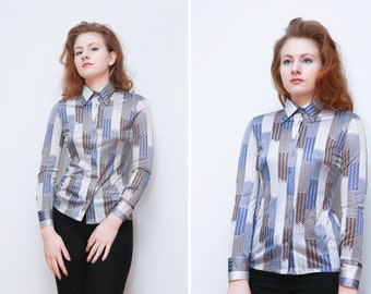 Vintage Womens Shirt/Western Shirt/ Native Style Print/Stretchy/Button Up Sleeves
