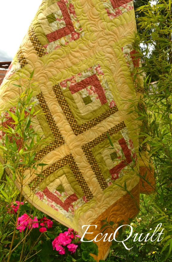 Log Cabin Quilt Pattern Free Queen Size : Items similar to Floral classic log cabin quilt, queen size on Etsy