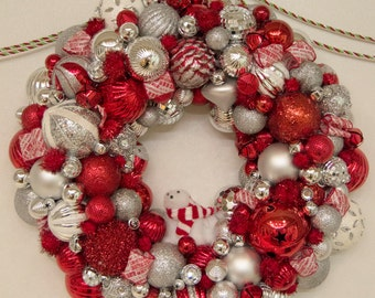 Handmade Ornament Wreath - Customizeable - You choose your colors - With storage box