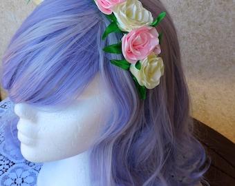 Flower Headband, Classic lolita headband, Wedding headpiece, Flower tiara, Princess fairy, Flower crown adult, Floral hair, Flower girl gift