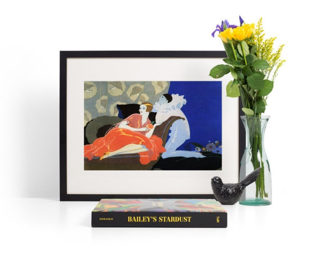 FRAMED WALL ART - Art Deco Print - Vintage Flapper and Harlequin Mime - A Variety of Sizes and Styles Available - Free Shipping