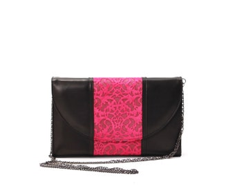 Black leather and pink etched fur leather clutch with gunmetal removable chain shoulder strap.  Australian made.  Artisan.  Unique.  Cool