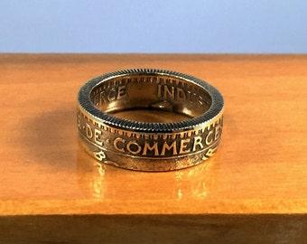 1924 Chambres de Commerce 2 Francs Gold Tone Coin Ring
