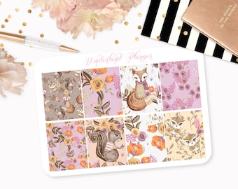 Woodland Friends - Floral Fall Themed Planner Stickers // Full Box Designs // Perfect for Erin Condren Vertical Life Planner